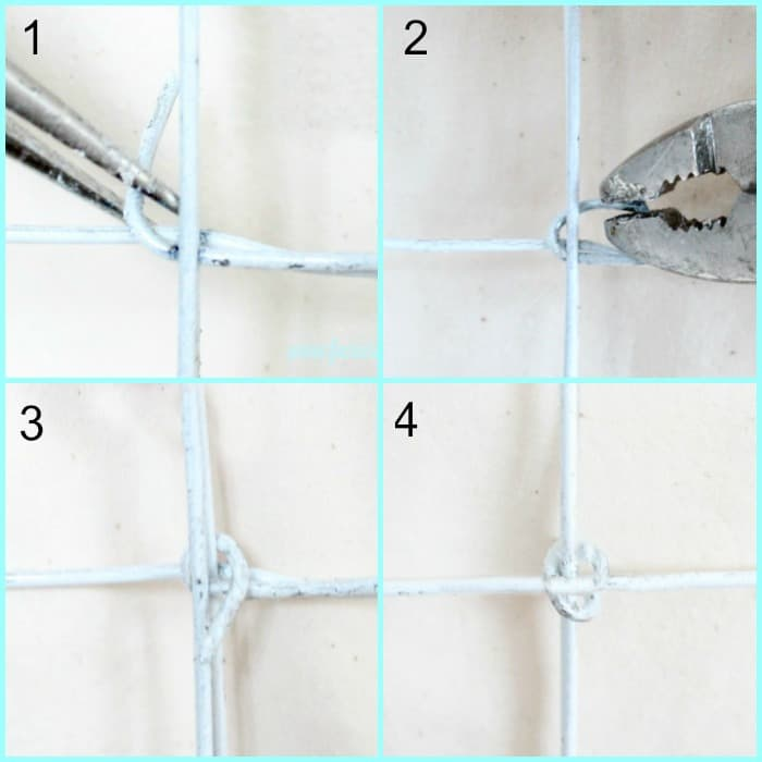 Wrapping wire around the closure of a wire laundry hamper with wheels.