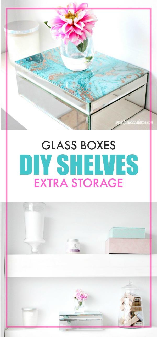 DIY floating shelf for extra bathroom storage,