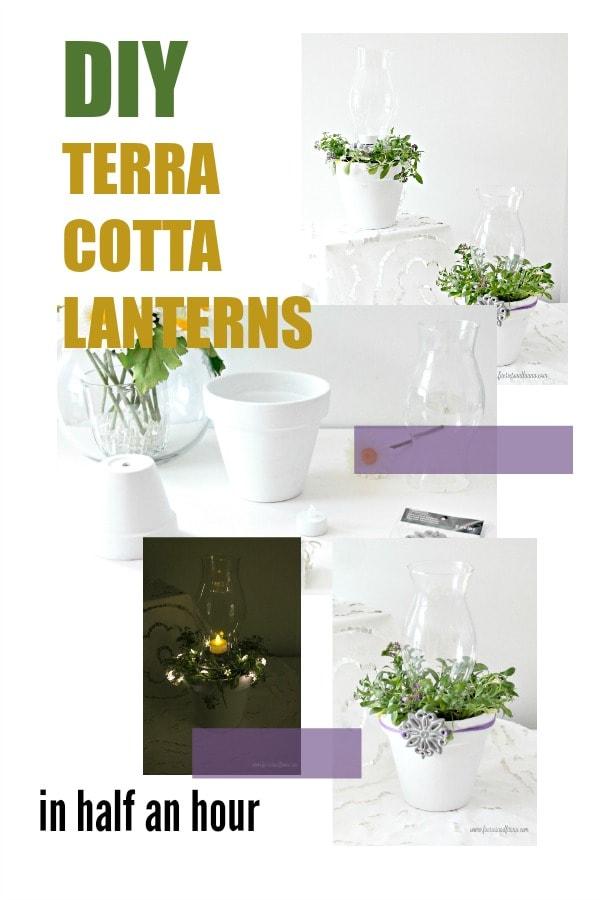 DIY terra cotta flower pot lanterns.