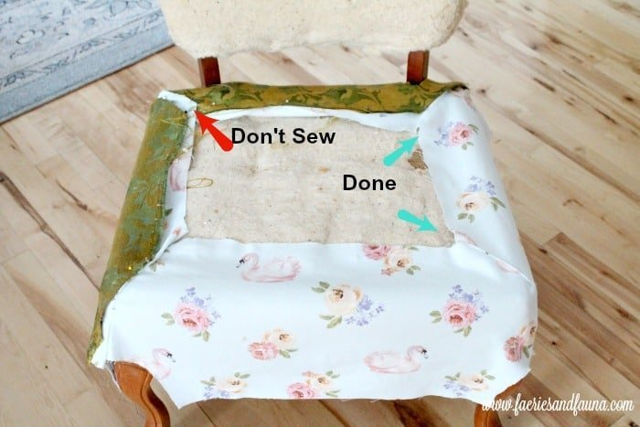 Four seams on a DIY chair upholstery project. Chair repair, furniture restoration, recover chairs DIY, how to reupholster a chair, reupholstery, chair reupholstery, furniture repair, recovering furniture, how to recover a chair.