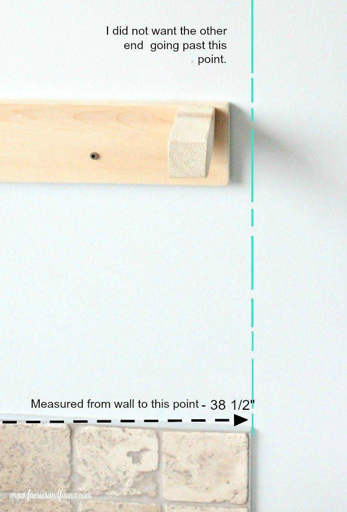 DIY shelf measurements for a white floating shelf.