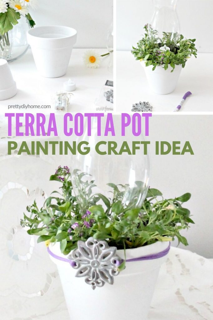 Terracotta pot painting craft idea into a lantern with white paint and real small flowering plants for outdoors.