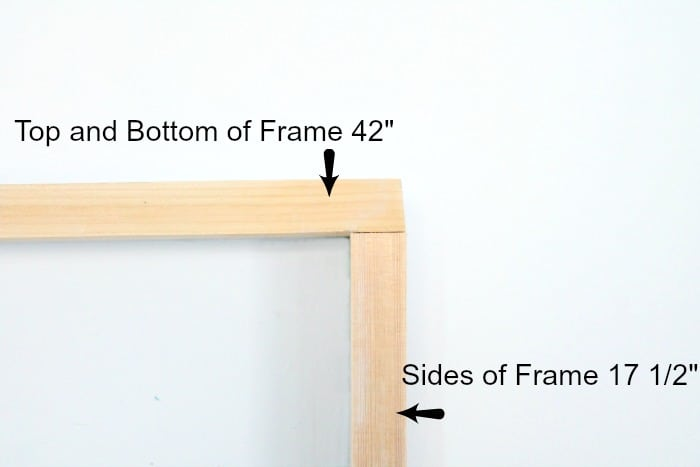 Top and Side of DIY Sign Frame that showing the measurements and corner of frame. Keep life simple sign,  DIY signs,  DIY wood sign making,  DIY painted signs, DIY home decor signs, DIY summer decor