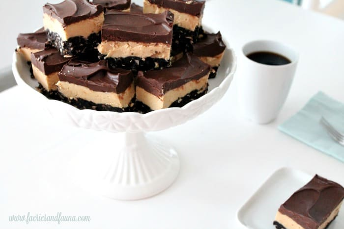 Chocolate peanut butter bars being served.
