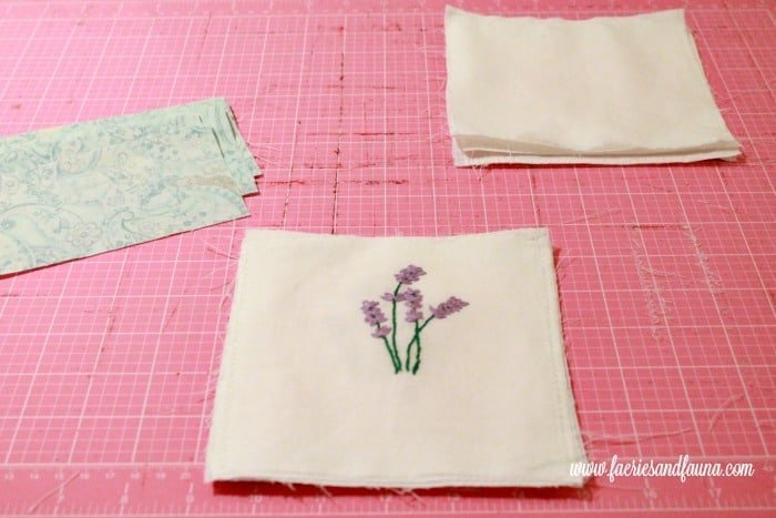 The pieces for a lavender sachet. sachet, how to make lavender bags, how to make sachets, lavender bags pattern, hand embroidery, hand embroidery patterns, hand embroidery stitches, hand embroidery designs.