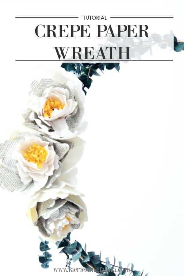 Crepe paper peonies made with crepe paper, and newspaper. A modern hoop wreath.