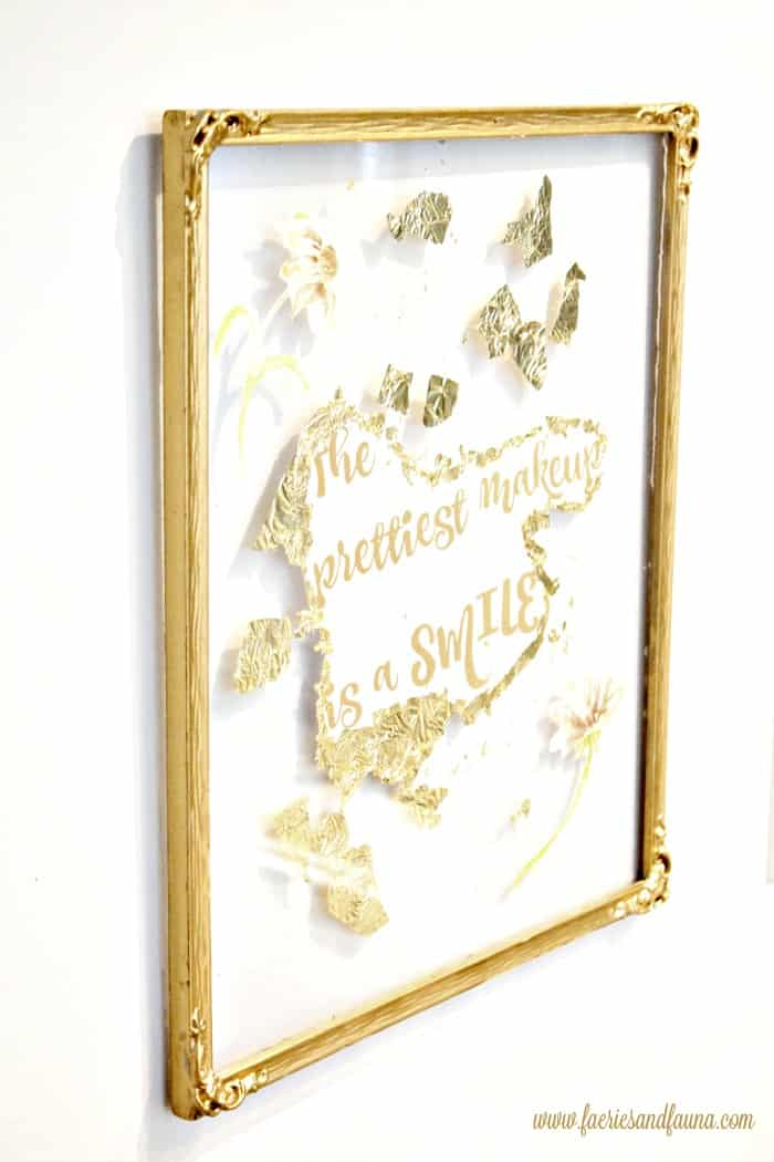 A large metallic gold floating frame idea. Old frames in need of cleaning, with dull gold patina. DIY floating frame, floating frame, frame ideas, floating picture frame diy, diy picture frame