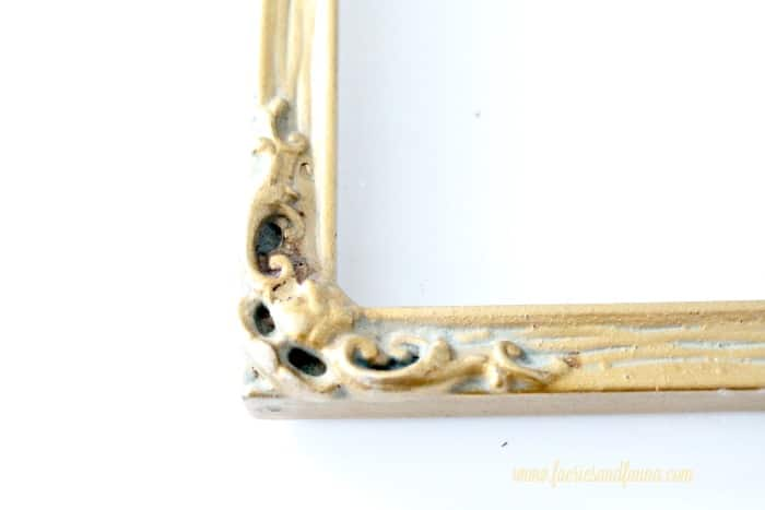 A very dirty old frame, encrusted with years of built up dirt. Old frames in need of cleaning, with dull gold patina. DIY floating frame, floating frame, frame ideas, floating picture frame diy, diy picture frame