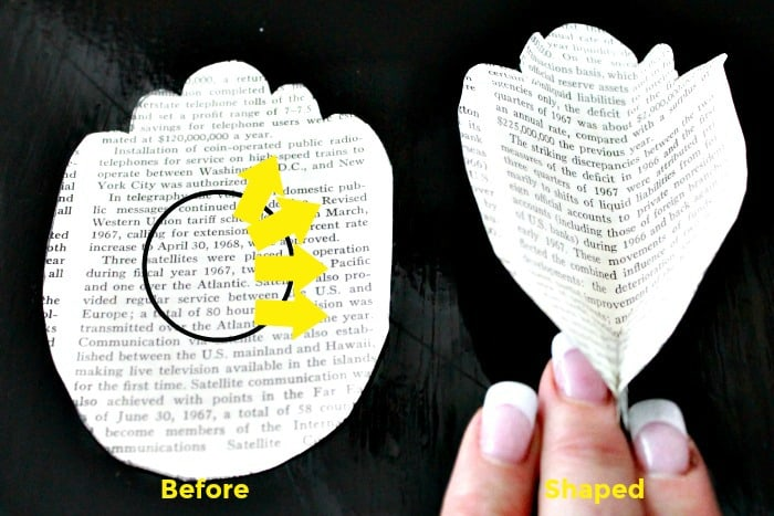 Book paging being formed into peony petals. How to shape book pages for paper flower making.