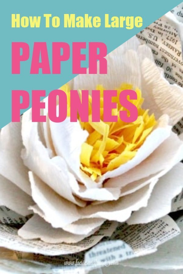 Large Paper Peony tutorial using crepe paper and book pages.
