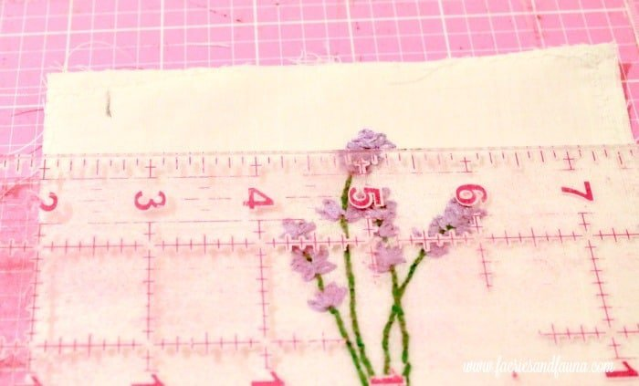 Measuring for center on an embroidered pattern. sachet, how to make lavender bags, how to make sachets, lavender bags pattern, hand embroidery, hand embroidery patterns, hand embroidery stitches, hand embroidery designs.