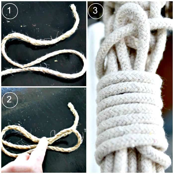 The three stages of completing a slip knot. macrame plant hanger DIY, macrame patterns hanging basket, DIY hanging planter macrame design