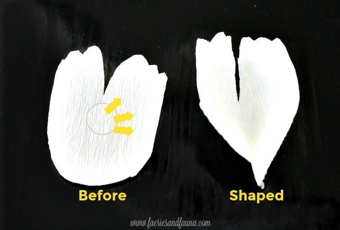 Small crepe paper flower petals being shaped and stretched for a hoop wreath craft project. How to stretch crepe paper to make beautiful large paper peonies.
