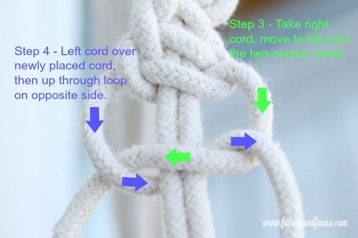 Steps three and four of Macrame square knot