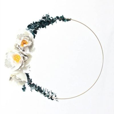 Crepe Paper Peony Hoop Wreath – with Optional Book Page Petals