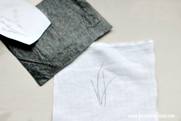 Transferring an embroidery pattern using carbon paper. sachet, how to make lavender bags, how to make sachets, lavender bags pattern, hand embroidery, hand embroidery patterns, hand embroidery stitches, hand embroidery designs.