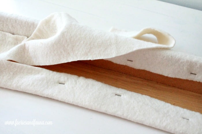 Adding quilt batting to a RV valance makeover project as part of an RV interior, RV renovation.
