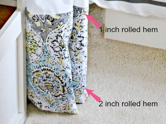 A handmade RV curtain showing the hem placement.