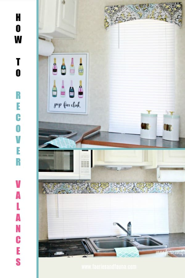 How to recover valances collage with a RV Kitchen showing new fabric covered valances