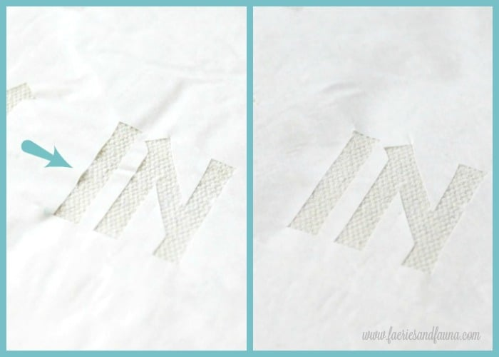 A freezer paper stencil before of after of a second ironing. Cushion making, DIY cushion covers, DIY pillow, making pillow covers, cushion cover making, sewing pillow covers, envelope cover, DIY Cushion Covers