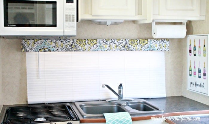 Redone valance over long RV kitchen window. RVrenovation,RV interior,RV remodel before and after, travel trailer remodel ideas