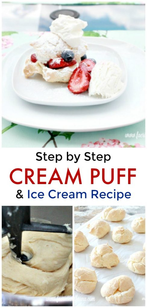 Gorgeous red white and blue dessert. Cream puff recipe, cream puff dessert, cream puff dessert, easy cream puffs, step by step cream puff recipe.