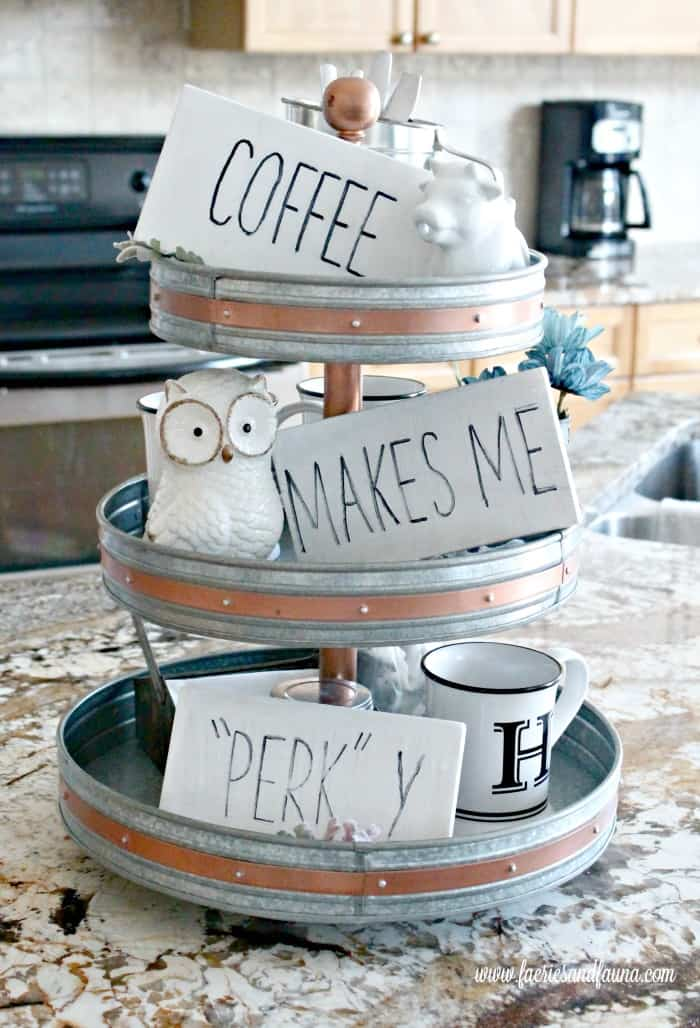 Coffee Bar for the home using three tier tray and DIY coffee signs.