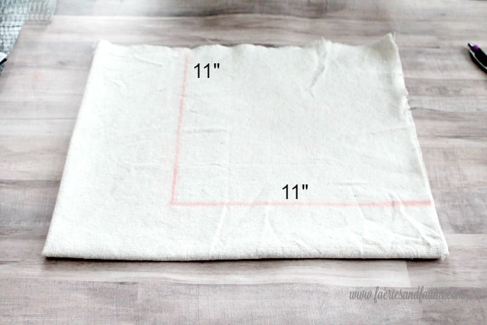 Cutting fabric for an easy basket liner. DIY wire baskets, DIY baskets, how to make wire basket, DIY storage baskets,