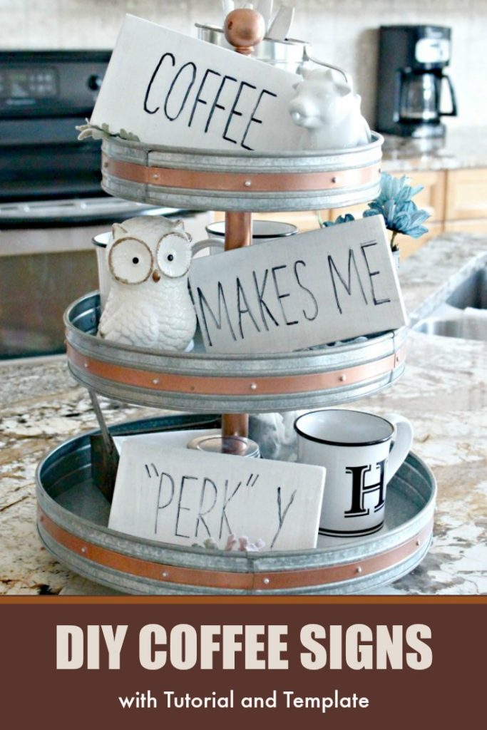 DIY Coffee Bar Signs in a 3 tier fall display.