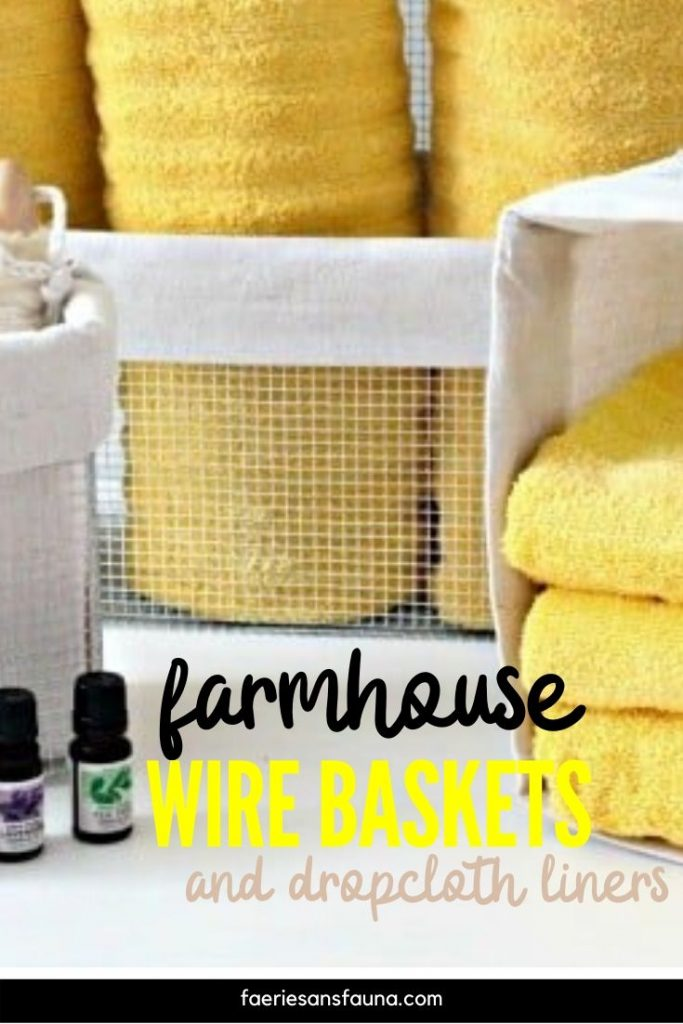 Handmade wire baskets with drop cloth liners in any size.