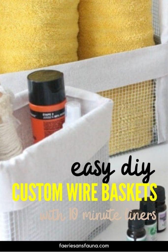 DIY Wire mesh baskets for storage.