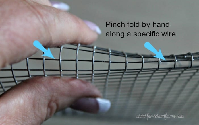DIY wire basket tutorial, how to fold the top section of a wire basket. DIY wire baskets, DIY baskets, how to make wire basket, DIY storage baskets,