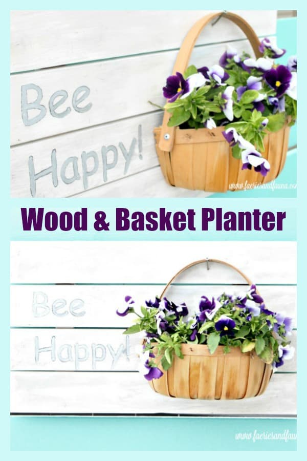 Wood and Basket Planter for Outdoors.