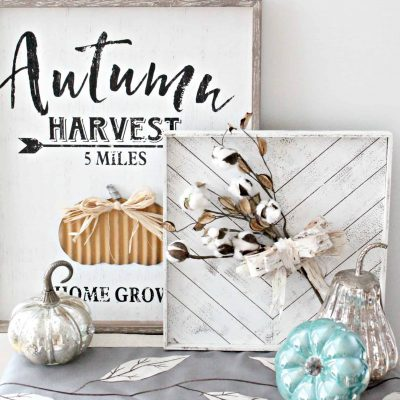 Fall Decor using Cotton Stems and Birch Bark