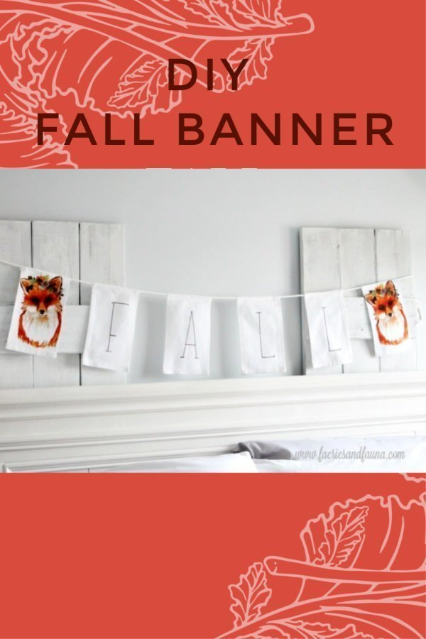How to make an easy fabric banner for Fall decor using tea towels.