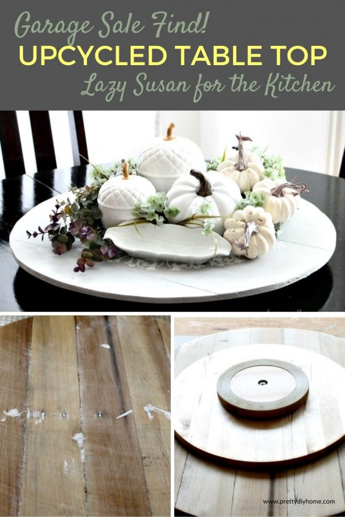 A DIY lazy susan upcycle for the kitchen table. Which is decorated for Fall as a kitchen table centerpiece.