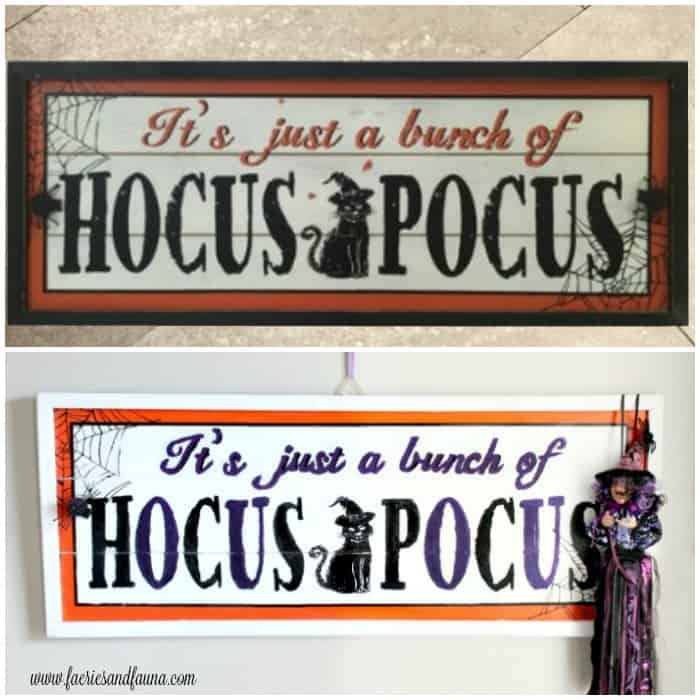 Before and After of Halloween Sign Makeover