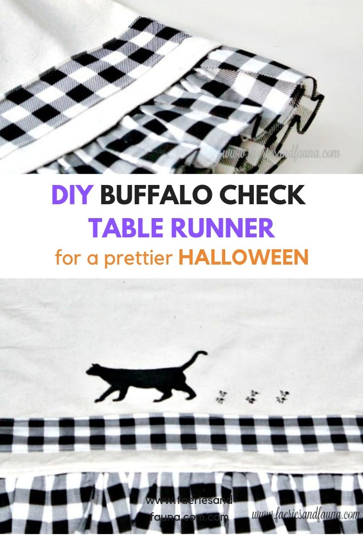 Buffalo Check Halloween Decoration, with black cat stencil