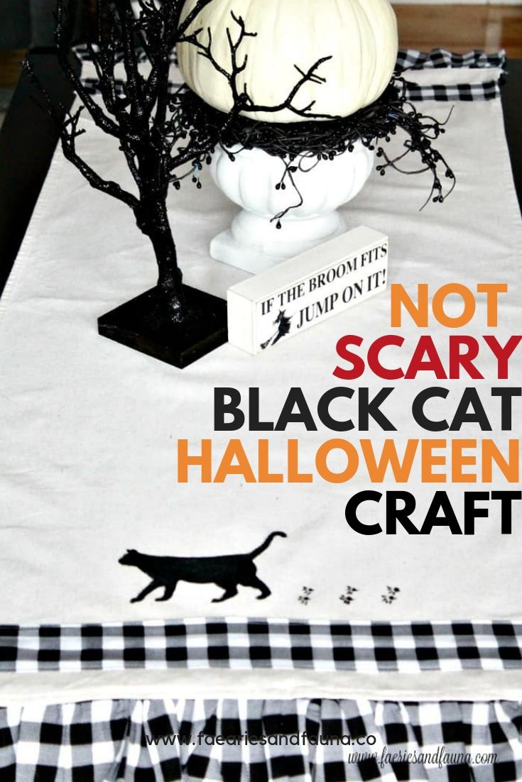 Not Scary Halloween craft. Paint and sew a black cat buffalo check table runner.