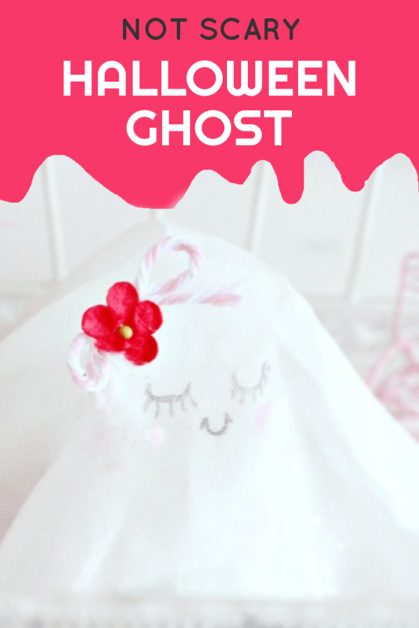 Not scary ghost with a pink flower.