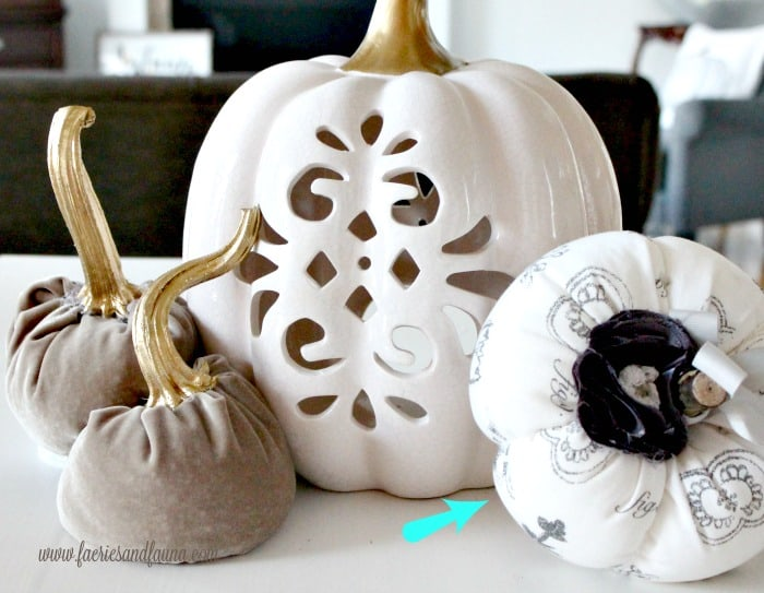 DIY Velvet pumpkins with real stems for fall decorating.