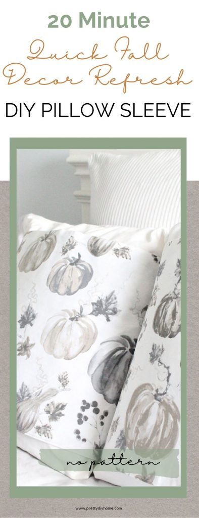 Two Fall pillow wraps in soft grey and browns for Fall. The Pillows or laying on a white farmhouse bed . An easy Fall sewing craft idea