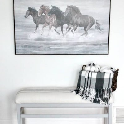 Easy DIY Farmhouse Bench Update using Paint and Drop Cloth