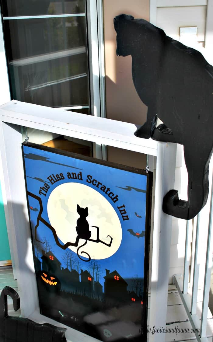 DIY Black Cat Silhouettes for Halloween made using scrap wood.