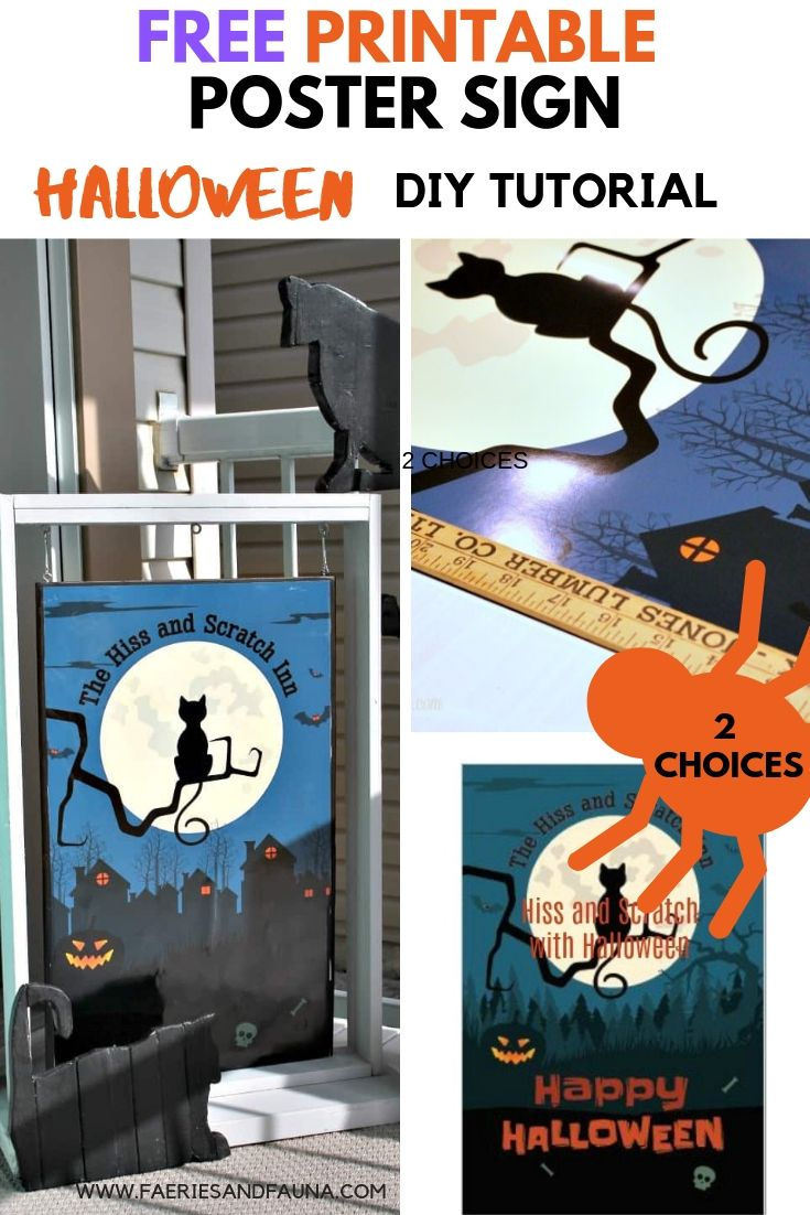 Fun Halloween front porch decoration. How to make a DIY Halloween sign with black cats.