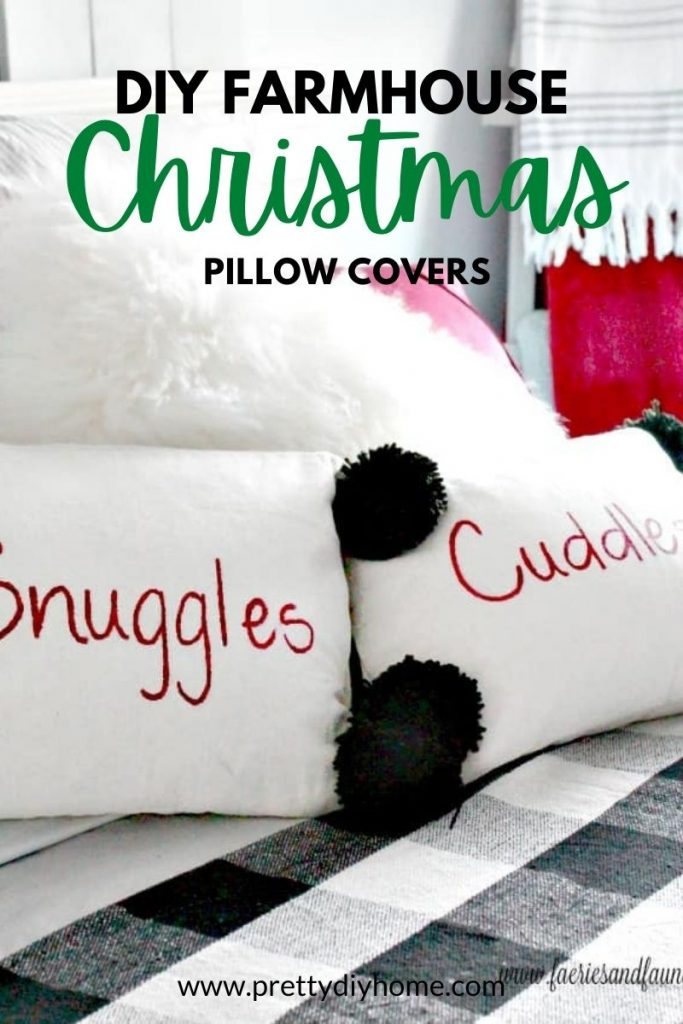 Fun snuggle and cuddle Christmas cushion covers in dropcloth with pom poms