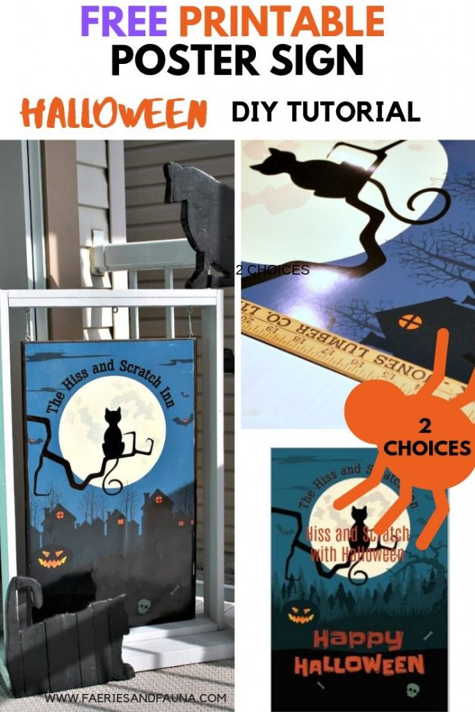 Free printable Halloween poster for the front porch with black cats.