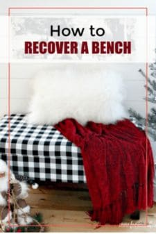 A recovered storage bench done in buffalo check fabric for Christmas.