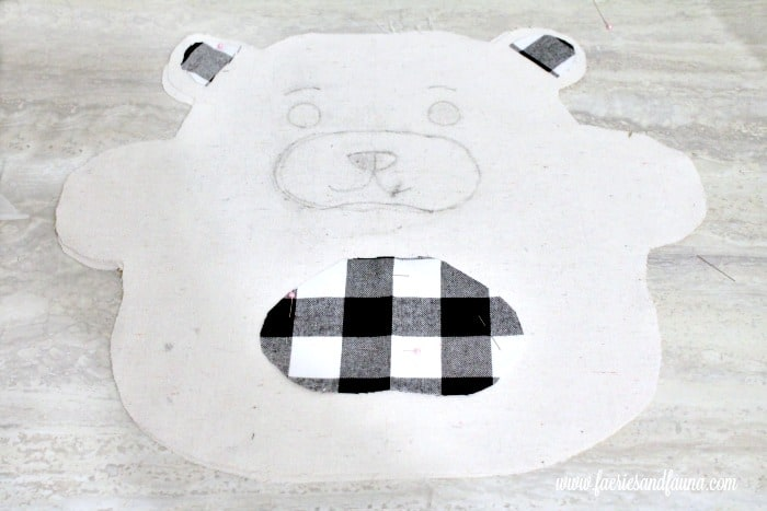 Transferred teddy bear face and applique onto a DIY Christmas Cushion