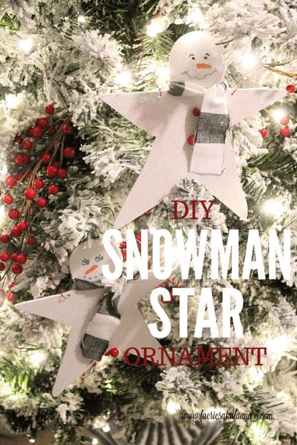 DIY Christmas Ornament a wooden snowman star.